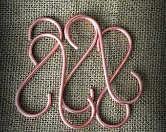 S Hooks | Copper Hooks | Pot rack hooks | Pot hangers | Kitchen hooks | Display hooks | Pot and Pan Hanger | Hammered hooks