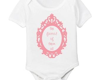 Snow White Fairest of Them All Baby Girl Organic Bodysuit
