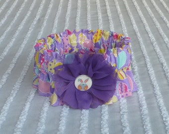 """Easter Eggs on Purple Dog Scrunchie Collar with twirl flower & bunny button - Size S: 12"""" to 14"""" neck"""