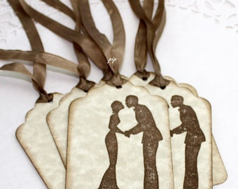 100 Wedding Tags & Silk Ribbon, Wedding Favor Tags, Wish Tree Tags, Party Supplies, Gift Wrapping, Gift Tags, Unique Gift Tags