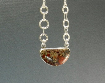 Red Stone Necklace Sterling Silver  Natural Interesting Jasper Rock  Modern Design OOAK. One of a kind Mosaic Rock Half Moon Shape Jewelry