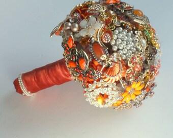 Medium sized Burnt Orange Bridal BROOCH BOUQUET, Wedding Brooch Bouquet, Vintage style heirloom with pearls, jewels Autumn/Fall