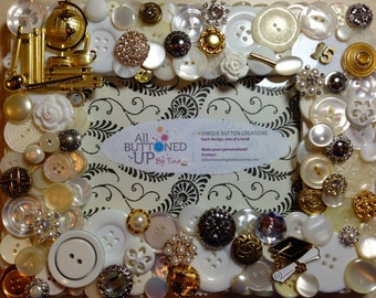 """CUSTOM Graduation """"2015"""" Themed Button Picture Frame in White, Silver and Gold for 4""""x6"""" photo"""