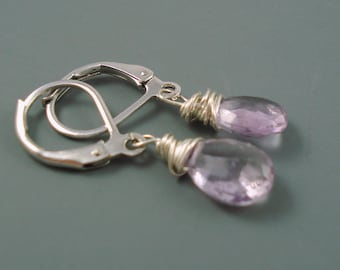Amethyst  Earrings, Faceted Teardrop Lilac Amethyst with Sterling Silver Lever Backs