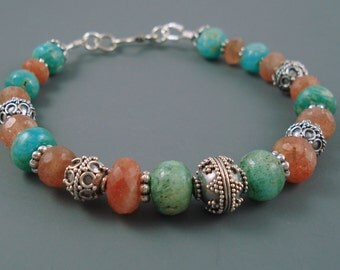 Sunstone and Peruvian Amazonite Bracelet with Sterling Silver Ornate Beads OOAK