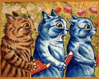 antique art deco illustration three cats singing DIGITAL DOWNLOAD