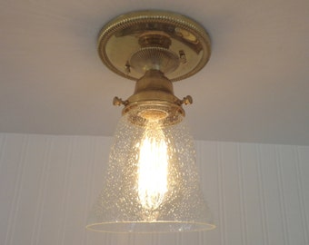 Searsmont. Refurbished Clear Seeded Semi Flush CEILING LIGHT with Edison Bulb