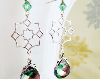 Northern Lights Earrings Silver Swarovski Winter Gifts for Her by MinouBazaar