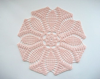 Crochet Doily Pink Cotton Lace Table Topper Heirloom Quality
