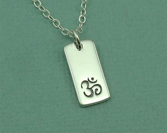 Om Necklace - Sterling Silver Om Jewelry, Ohm Necklace, Yoga Jewelry, Om Pendant, Yoga Teacher Gift, Buddhist Jewelry, Yoga Gifts,