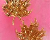 "FS1337 Gold Leaf Mirror Pair Beaded Sequin Appliques 3.75"" (FS1337-GL)"