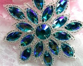 """N19 Applique Turquoise AB Glass Rhinestone Silver Beaded Snowflake Flower Patch 2.75"""" (N19-trabsl)"""