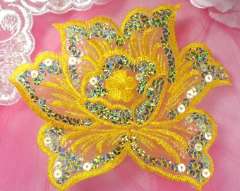 """GB66 Yellow Embroidered Flower Silver AB Sequin Applique 6.5"""" (GB66-ylsl)"""