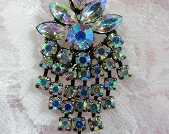 "ACT/XR185 Black Backing Aurora Borealis Crystal AB Rhinestone Applique Glorious Dangles Embellishment 1.5"" (ACT/XR185-bkab)"