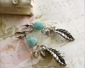 Leaf Earrings Blue Amazonite Stone Earrings Smokey Gray Cluster Earrings