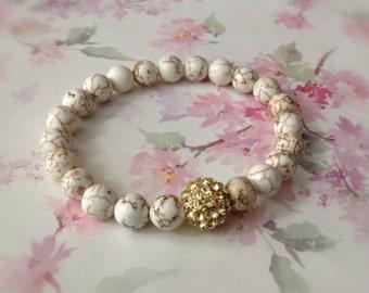 Stretch Bracelet Ivory White Howlite Gold Rhinestone Pave Bead Bracelet Gemstone Bracelet