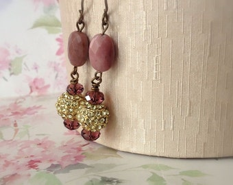 Dusky Pink Earrings Rhodonite Stone Gold Rhinestone Bead Drop Earrings Boho Jewellery Winter Sale