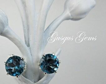London Blue Topaz 7mm 2.70ctw Sterling Silver Stud Earrings