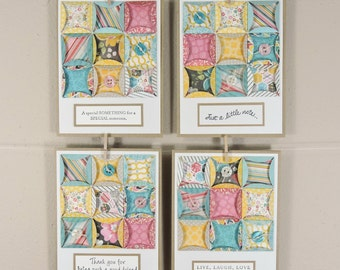 Quilt Square Notecards / Cathedral Window Quilt Cards / Paper Quilting
