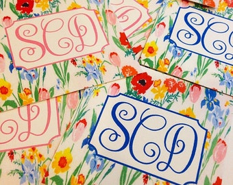 Monogram vintage floral gift tags