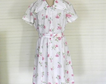 Vintage Dress, Pink Floral Cotton Shirt Dress, Pink and White Floral Print Day Dress, Summer Day Dress Lightweight Cotton Dress Size Large