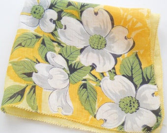 Vintage Ladies Hankie • Yellow and White Blossoms