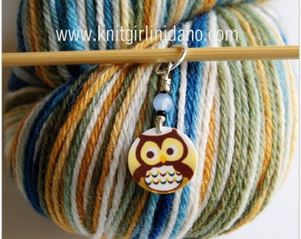 Yellow Whimsical Owl Stitch Marker (Qty 1)