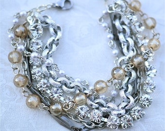 Mixed Metal Silver Multi Chain Bridesmaid Bracelet Chunky Layered Bracelet Bridesmaid Gift Pearl Vintage Layered Chains Bracelet