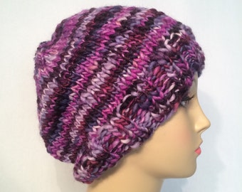 Purple Knit Slouchy Hat FREE SHIPPING