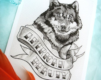 Pen and Ink -Watercolor Painting - Gray Wash Drawing - Wolf Tattoo Design - American Beauty 5x7 Giclee Print
