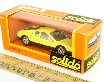 Reduced / Vintage France Solido Gam 2 Yellow Diecast Ferrari in Box Like-New / Collectible Toy