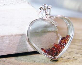 glass heart locket sterling silver floating genuine garnet necklace, love locket, glass floating heart necklace