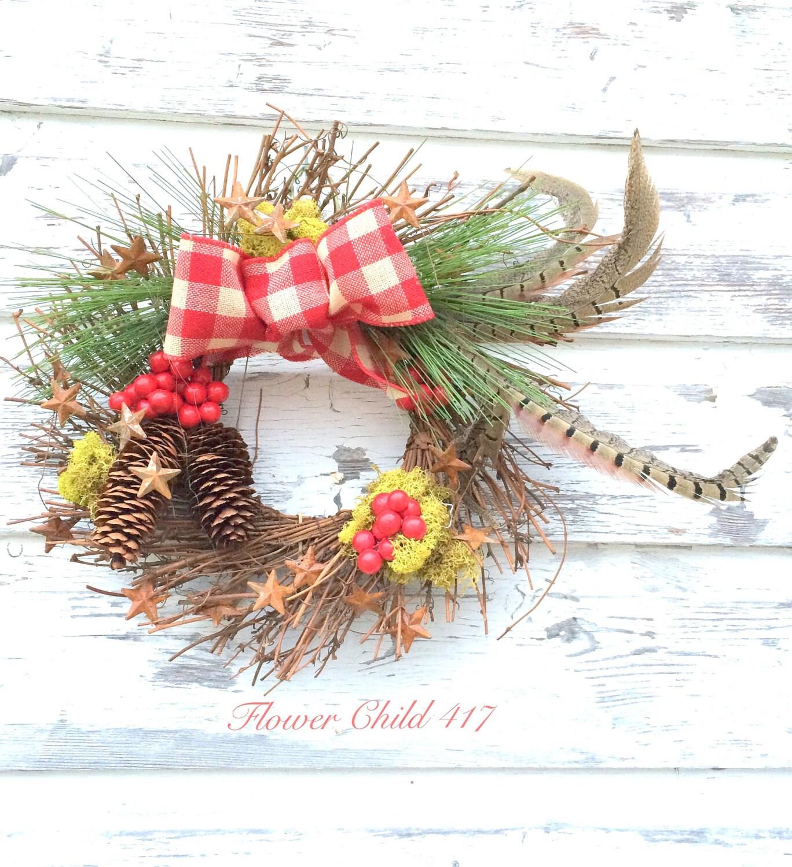 CHRISTMAS CHARM RUSTIC small twiggy woodland wreath