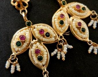 Exquisite  1960s vintage Venice dangle earrings - Feminine jewel seed beads  Golden leaves -- art.708/3-