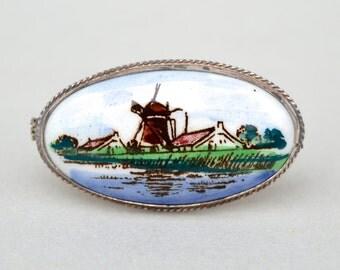 Vintage Estate 835 Silver Porcelain Holland Scene Pin . Brooch