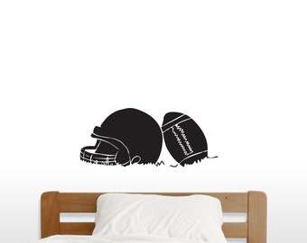 Football And Helmet - Sports Wall Decals