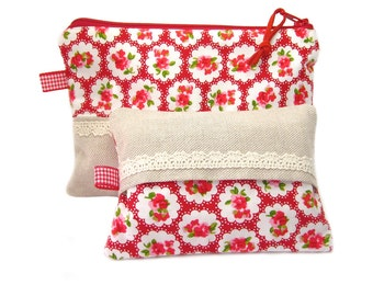 Makeup Bag and Tissue Cozy Gift Set, Cosmetic Case and Tissue Case, Pocket Tissue Holder, Red Flowers