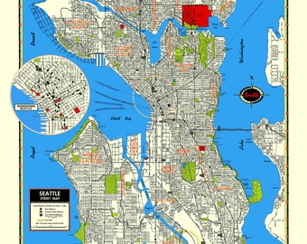 Seattle Map Poster Washington Puget Sound Queen Anne Ballard Capitol Hill Ravenna Rainier Fremont Pike Place Belltown Pioneer Square Alki