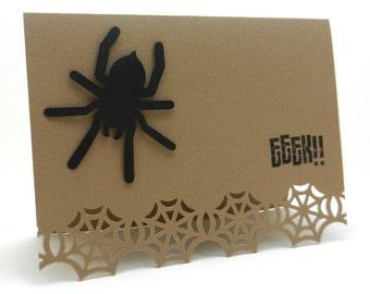 Halloween Spider and Web Cards - Eeek - 5 Pack - Handmade