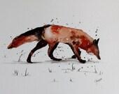 "Original Watercolor Painting- ""Fox Painting"""