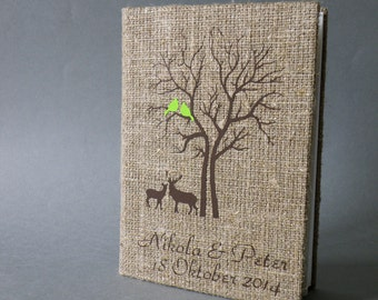 Wedding Guest Book Custom Wedding Guest Book Wedding Book Rustic Wedding Guest Book Linen Guest Book Size 6.1 X 8.3 inches Deers under Tree