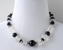 Lucite Bead Necklace, Black and Clear Lucite Necklace, Art Deco Style Necklace, Chunky Necklace, Black Necklace