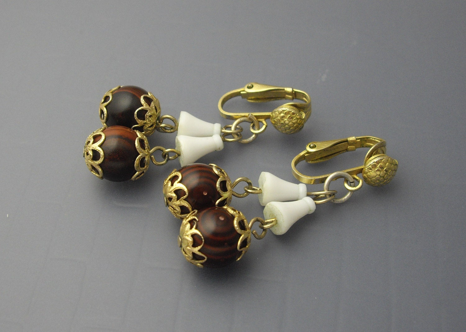 hong kong brown earrings plastic earrings by