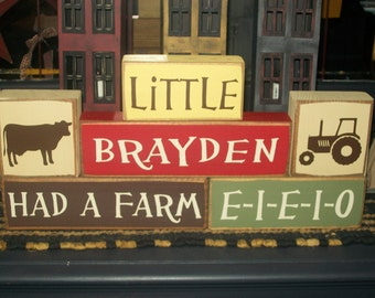 New Farm Animals Themed Personalized Six Piece Boys Girls Children's Wood Stacking Sign Blocks Nursery Room Decor Distressed Rustic Finish