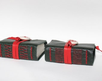 Leather Journal Notebook - Red and Green Holiday,