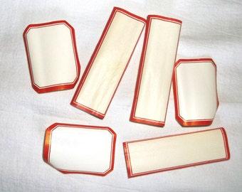 Vintage Red Border DENNISON Labels • gummed back • Large Lot