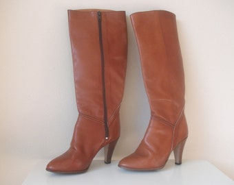 Nutmeg Brown Leather 80s Candies Boots, Size 6.5