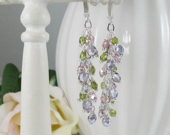 Dangle Earrings Wire Wrapped in Spring Colors