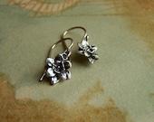 Open Flower Earrings - Sterling Silver Dangle - Oxidized Patina