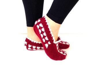 Christmas Gift, Warm Slippers, Handmade Slippers, Slippers, House Slippers, Winter Slippers, Burgundy Slippers